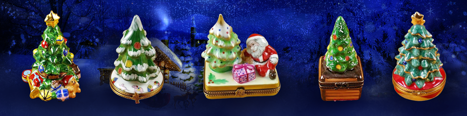 Christmas Trees Limoges Boxes Figurines Gifts ideas Porcelain