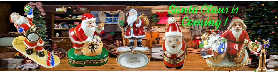 Santa Clause Porcelain Figurine Limoges Porcelain Boxes
