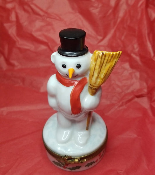 Snowman w Broom Chamart - Retired Extremely Rare Limoges Box