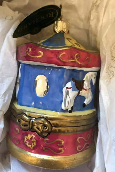 Mouth Blown Hand Painted Rochard Merry Go Round  Ornament NOT LIMOGES  - Vintage