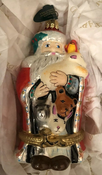 Mouth Blown Hand Painted Rochard Santa Ornament NOT LIMOGES  - Vintage
