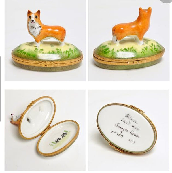 Corgi Dog Limoges Box