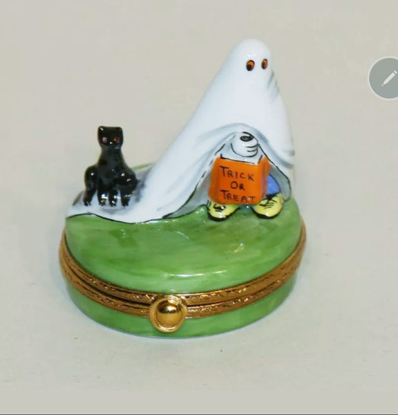 Trick Or Treater With Cat Limoges Box