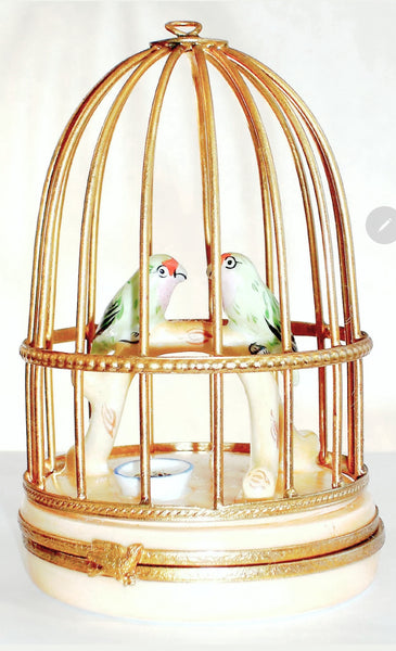 Small Parakeets Limoges Box