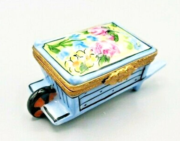 Wheel Barrow:  Garden With Flower Limoges Boxes