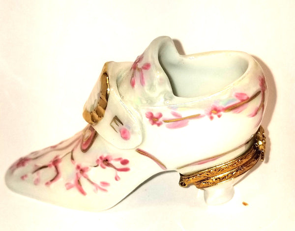 "BEAUTIFUL White Pink Shoe  2""- Made by Artoria 4 Sinclair  CARNIVAL GLAZE- You will not be dissapointed beautiful Bridal Cinderella Victorian"