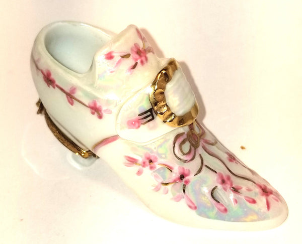 "BEAUTIFUL White Pink Shoe  2""- OVERSTOCK Item - Made by Artoria 4 Sinclair  CARNIVAL GLAZE- Bridal Cinderella Victorian"