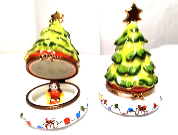 Christmas Tree with Doll Inside Limoges Box  4.25