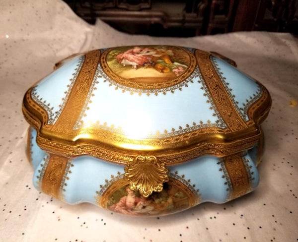 "Large Lt Blue Chest - St Honore JEWELRY BOX - Limited Edition First on Made 1 of 50 - Penicaud - EXTREMELY RARE - Limoges Box - 9"" x 7"" x 5"""
