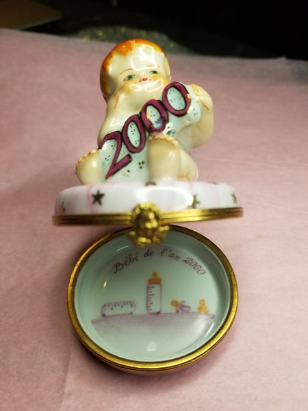 Year 2000 Baby Girl  - Number 1 of 750 First One Painted - Retired Extremely Rare Limoges Box