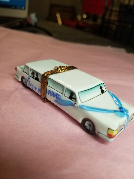 Just Married Wedding Limosine Car - Numbered 1 of 750 First One Painted - Retired Rare Limoges Box