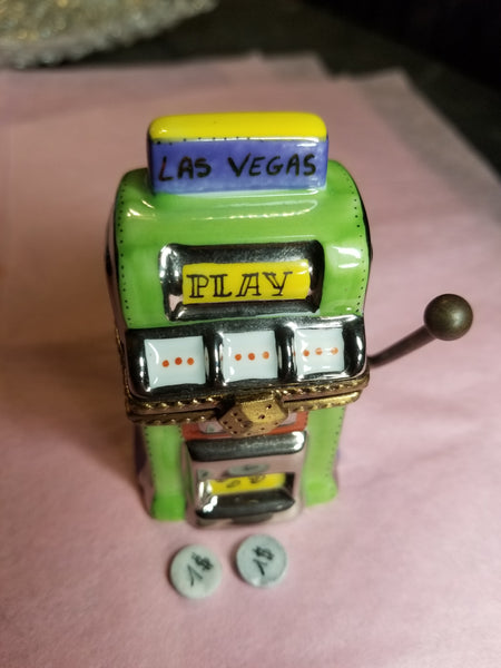 Vegas Green Purple Slot Machine Las Vegas - 1 of 750 First One Painted - Retired Rare Limoges Box