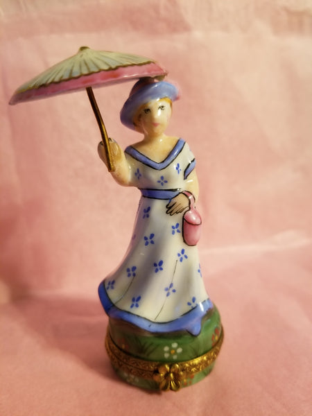 Woman w Umbrella Parasol in Blue Monet Like- Numbered 1 of 500 First One Painted - Retired Rare Limoges Box