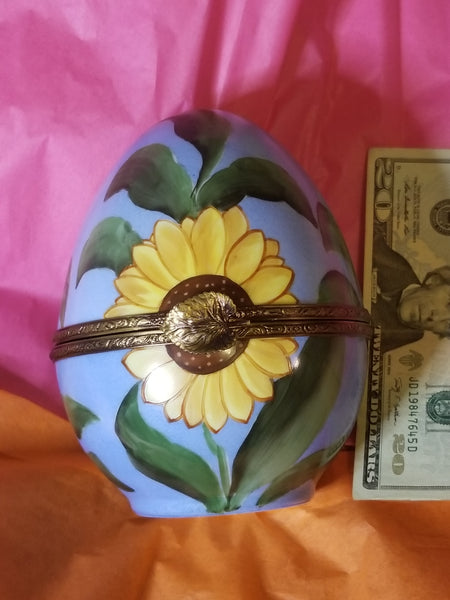 "Huge 6.5"" Sunflower Daisey on  Egg Limoges Box"