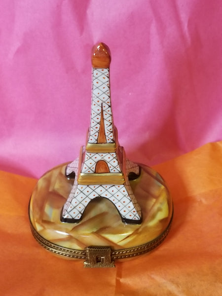 White Eiffel Tower on Brown Base Rochard Limoges Box