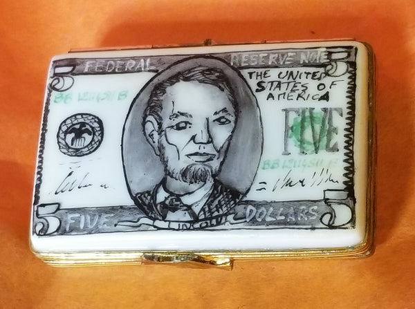 5 dollar Lincoln USD Dollar Bill United States Limoges Boxes