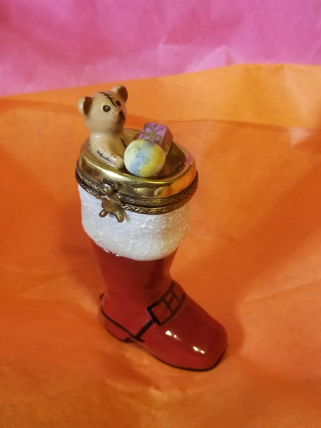 Christmas Boot w Bear presents Limoges Box