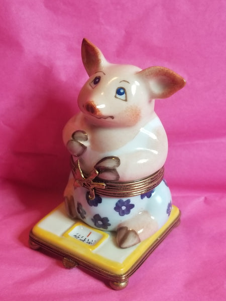 Pig on Scale Weight Loss Limoges Box Fashion - La Gloriette