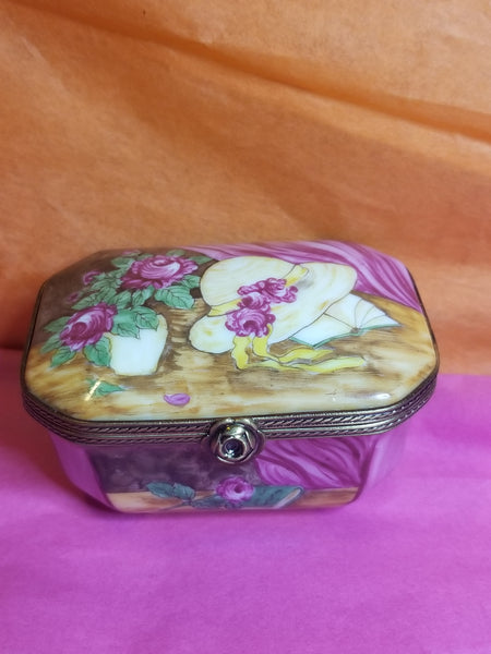 "Roses on Octogonal trinket box 18th Century Style Limoges Box 3"" x 2 1/4  x 1 3/4"