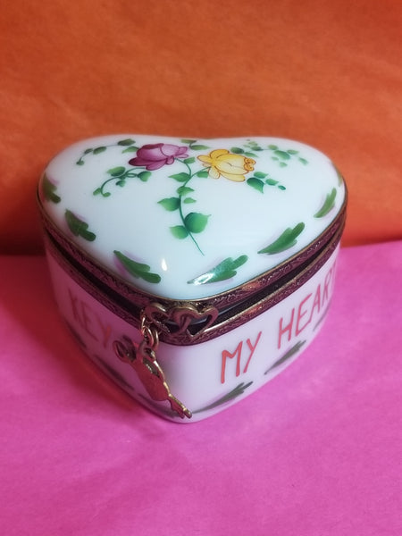 Key to my Heart w key dangling- Flowered Heart Limoges Box