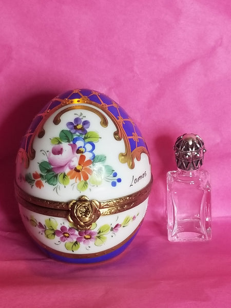 "Blue Gold Perfume bottle 2.75"" Egg Gold Encrustation Limoges Box"