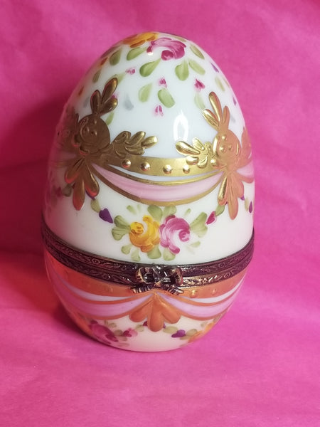 "Pink Gold Encrustation Egg 2.5"" Limoges Box"