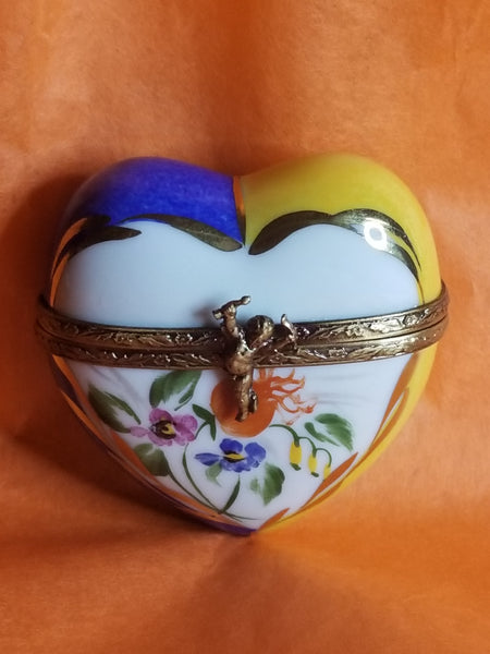 Yellow Blue Flowered Heart Limoges Box w Cherub Clasp