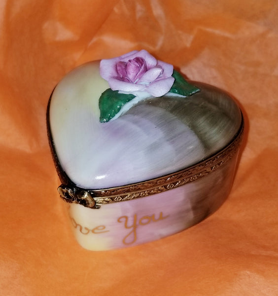 I Love You Heart w Rose Flower Rosard Motif Limoges Box