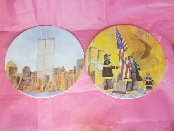9 11 World Trade Centers New York Firefighter Never Forget Limoges Collection Plates - Never Forget - Only 9 Left.