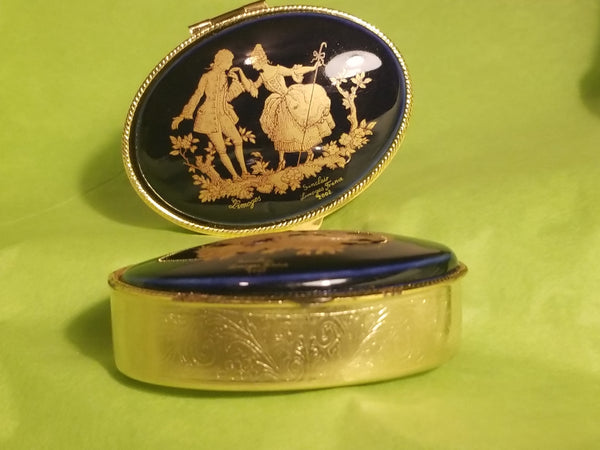 1 Cobalt Blue round brass box (SITTING LOPSIDED - look close at picture) Gold Lovers Limoges Box