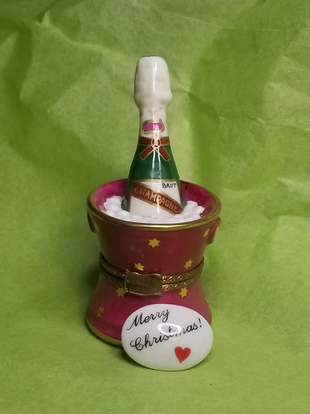 Merry Christmas trinket Pink Bucket of Brut Champagne on Ice Overstock item