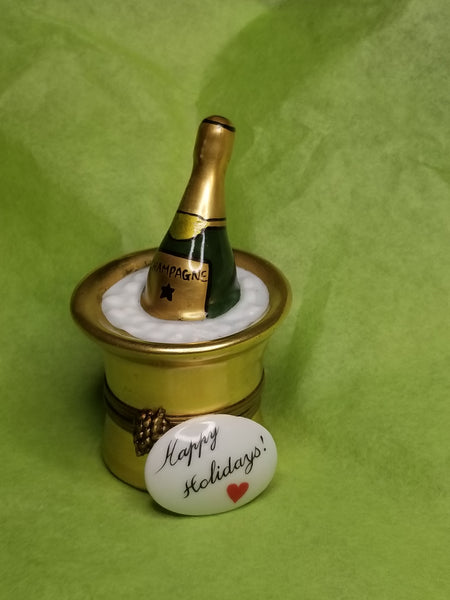 Happy Holidays trinket w Gold Bucket of Champagne on Ice Gift  limoges box
