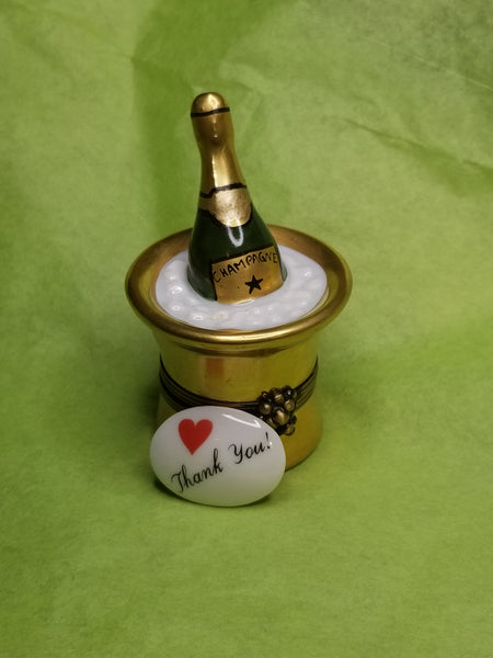 Thank you trinket w Gold Bucket of Champagne on Ice Gift  limoges box
