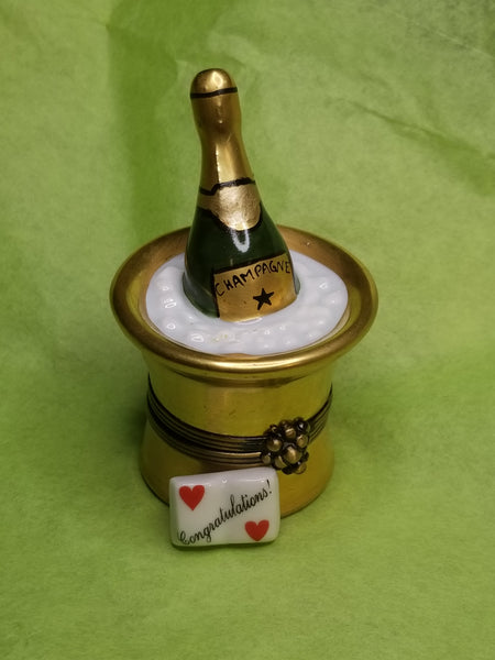 Congratulations trinket w Gold Bucket of Champagne on Ice Gift  limoges box