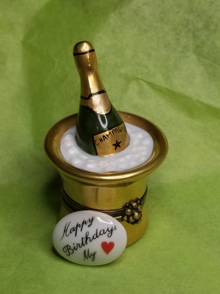 Happy Birthday My Love Gold Bucket of Champagne on Ice Gift  limoges box