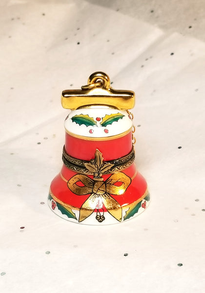 Red Christmas Bell Ornament Chamart Limoges Box