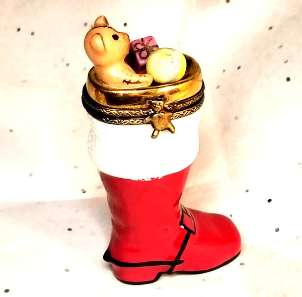 Christmas Boot w Teddy Bear presents Limoges Box