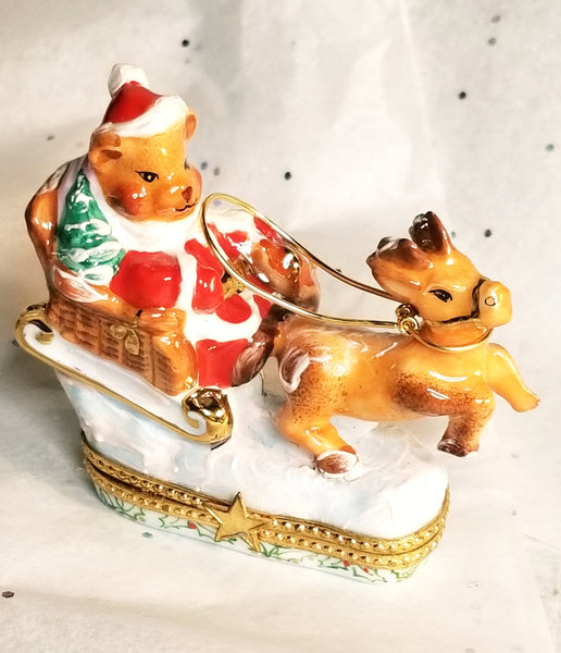 Teddy Bear Santa Claus on Sleigh w Reindeer Limoges Box