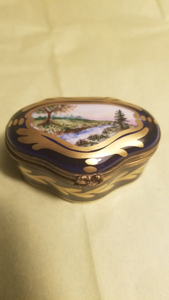 Cobalt Blue w  River Scene on Box - Vintage Hand Painted.
