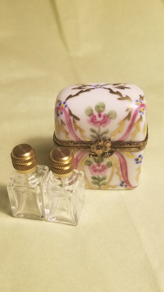 Gold Pink White  Perfume Chest Limoges Box