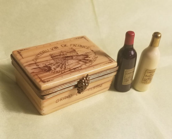 "Chateau Wine Crate Taster Set Bottles Crate PV 2"" Limoges Box"
