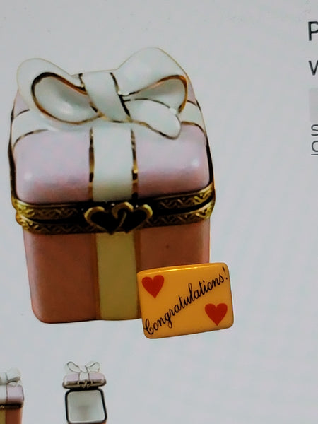 Congratulations  - Pink Gift Wrapped Box With Gold Ribbon Present Limoges Box