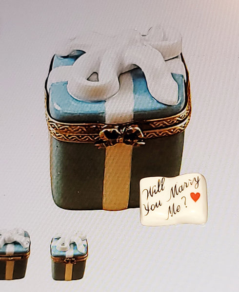 Will You Marry Me Tiffany Blue Gift Box present Limoges Box