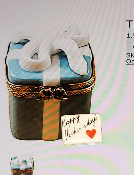 Happy Mothers Day Tiffany Blue Gift Box present Limoges Box