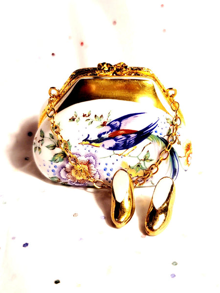 Purse Bird Antique Flowers