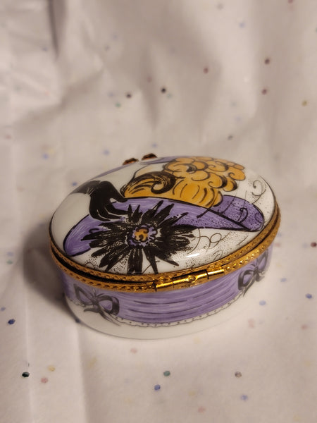 Lady w Hat on Purple Round - Retired Rare Limoges Box