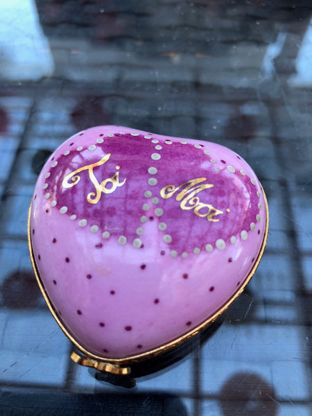 Pink Heart Moi Toi Valentine - Number 1 of 750 First One Painted - Retired Extremely Rare Limoges Box