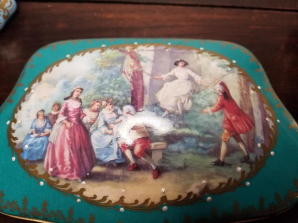 "Teal Chest - Serenade Woman JEWELRY BOX - Second One Made 2 of 250 - EXTREMELY RARE - Limoges Box - 9"" x 5 1/2"" x 3"""