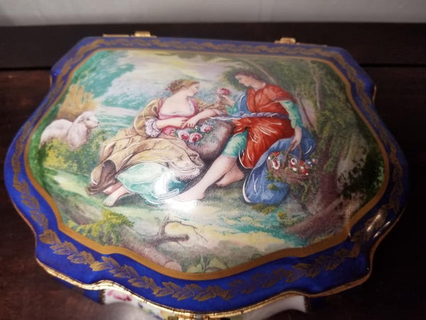 "Large Blue Chest - Lovers JEWELRY BOX - FIRST One Made 1 of 250 - EXTREMELY RARE - Limoges Box - 9"" x 7"" x 5"""