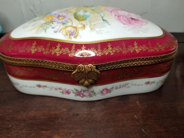 "Maroon Chest - Flowers JEWELRY BOX - Limoges Box - 9"" x 5 1/2"" x 3"""